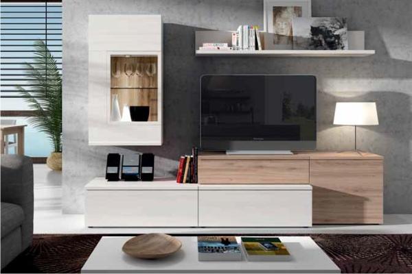 Muebles Salón  Mueble de salon modular moderno de pino, roble, nogal