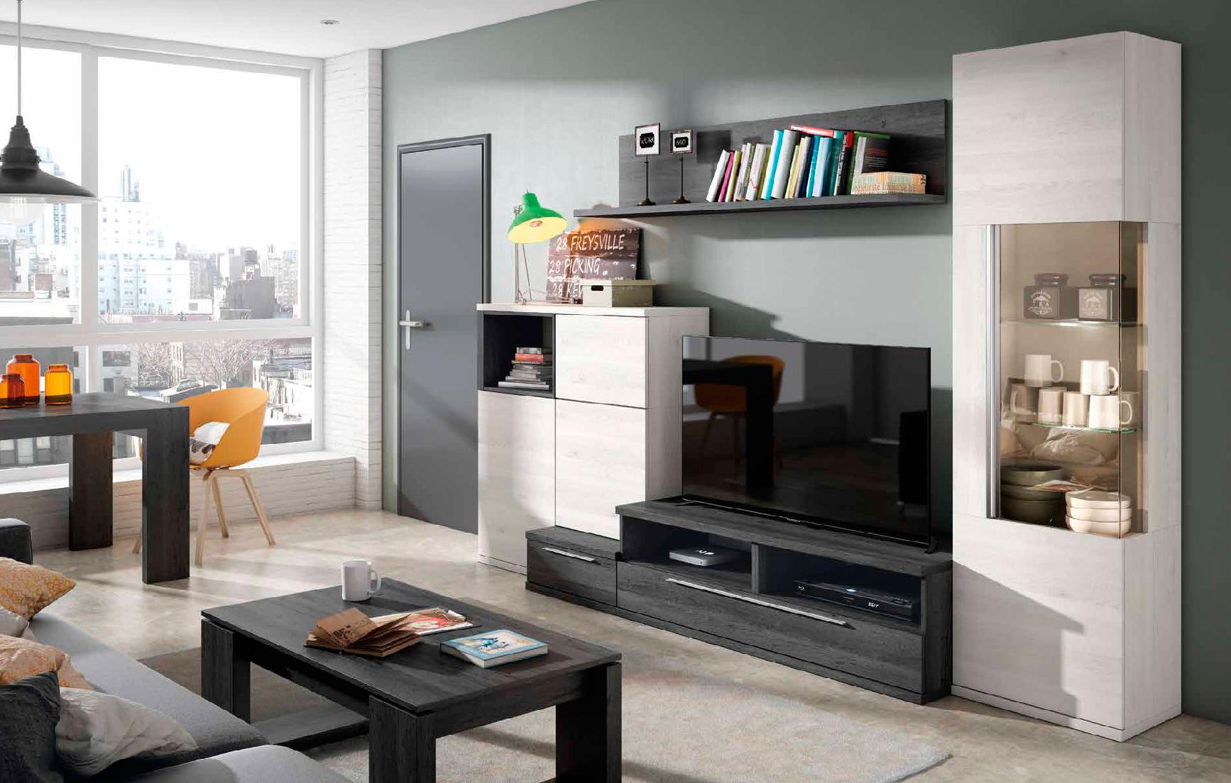 Mueble de Salón Blanco nordic y azabache - Muebles Adama Tienda de ...