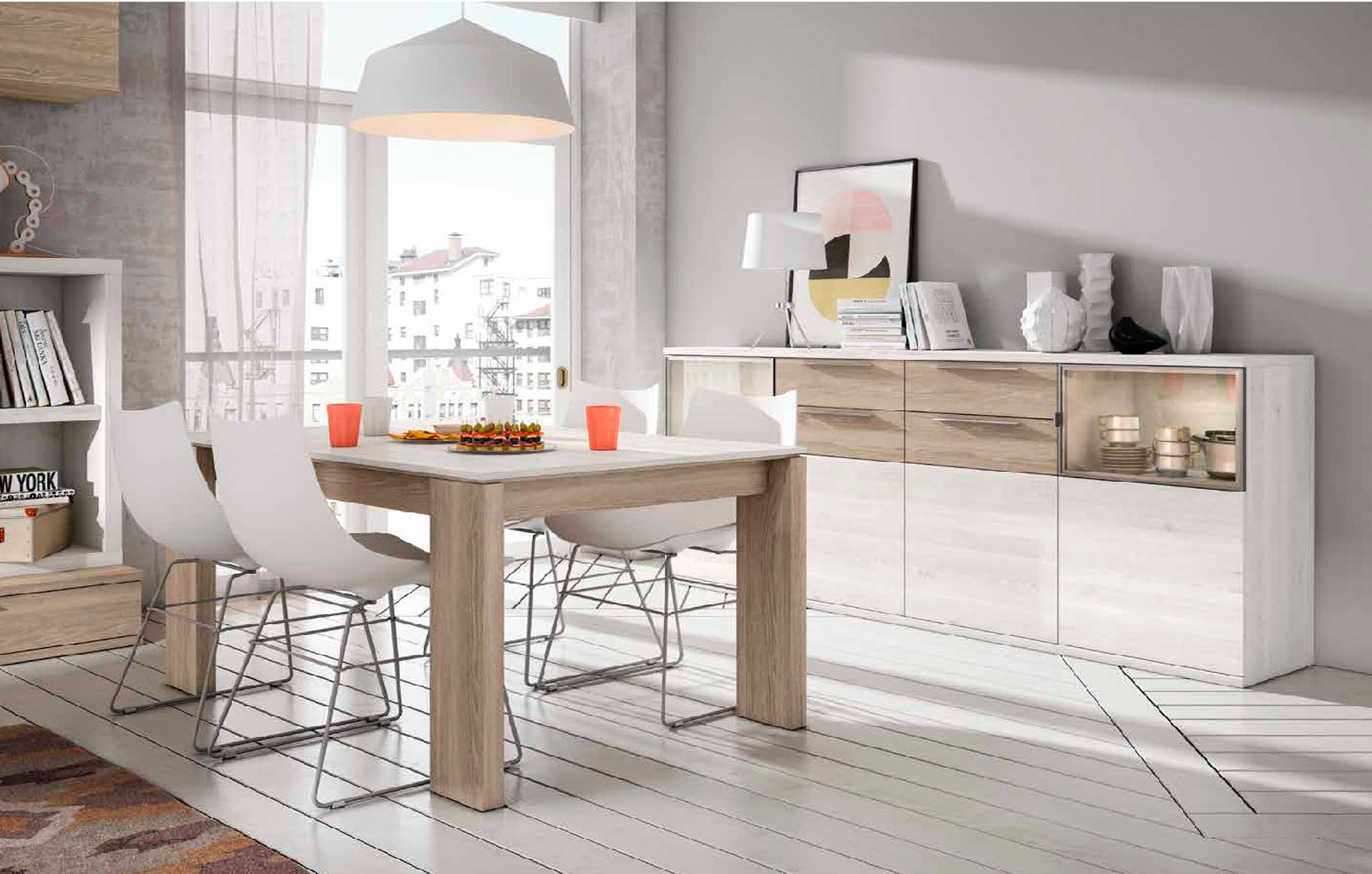 Aparador mueble de sal n color sable y blanco nordic - Mueble salon blanco ...