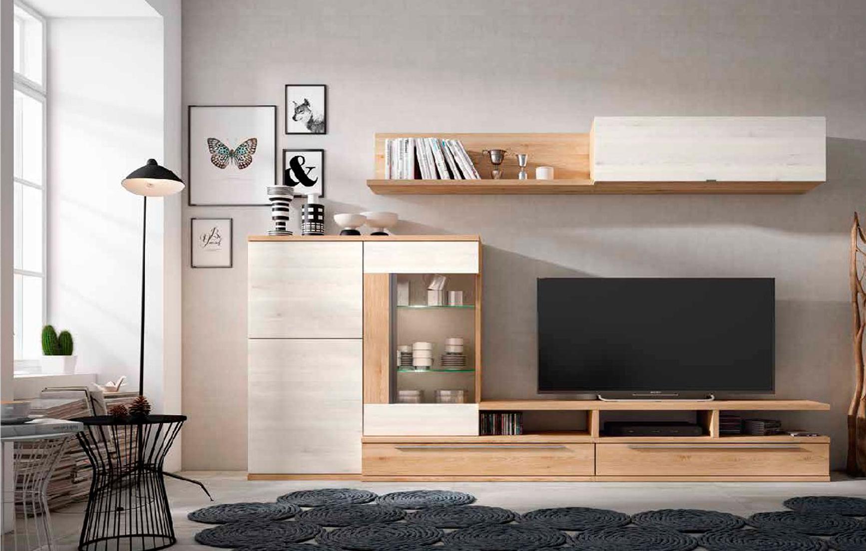 Mueble de sal n blanco nordic y pino dan s muebles adama for Muebles salon modernos 2016