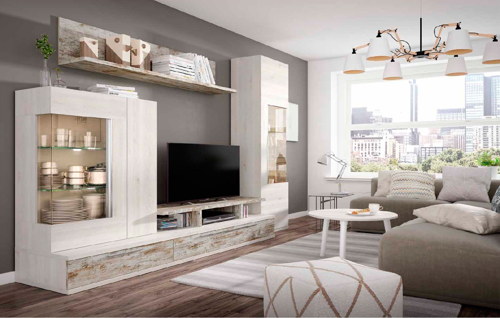 Mueble de sal n blanco nordic y vintage muebles adama for Factory de muebles en madrid