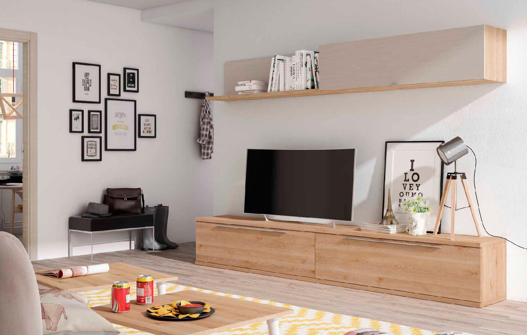 Mueble de sal n pino dan s y organic piedra muebles for Muebles de pino madrid
