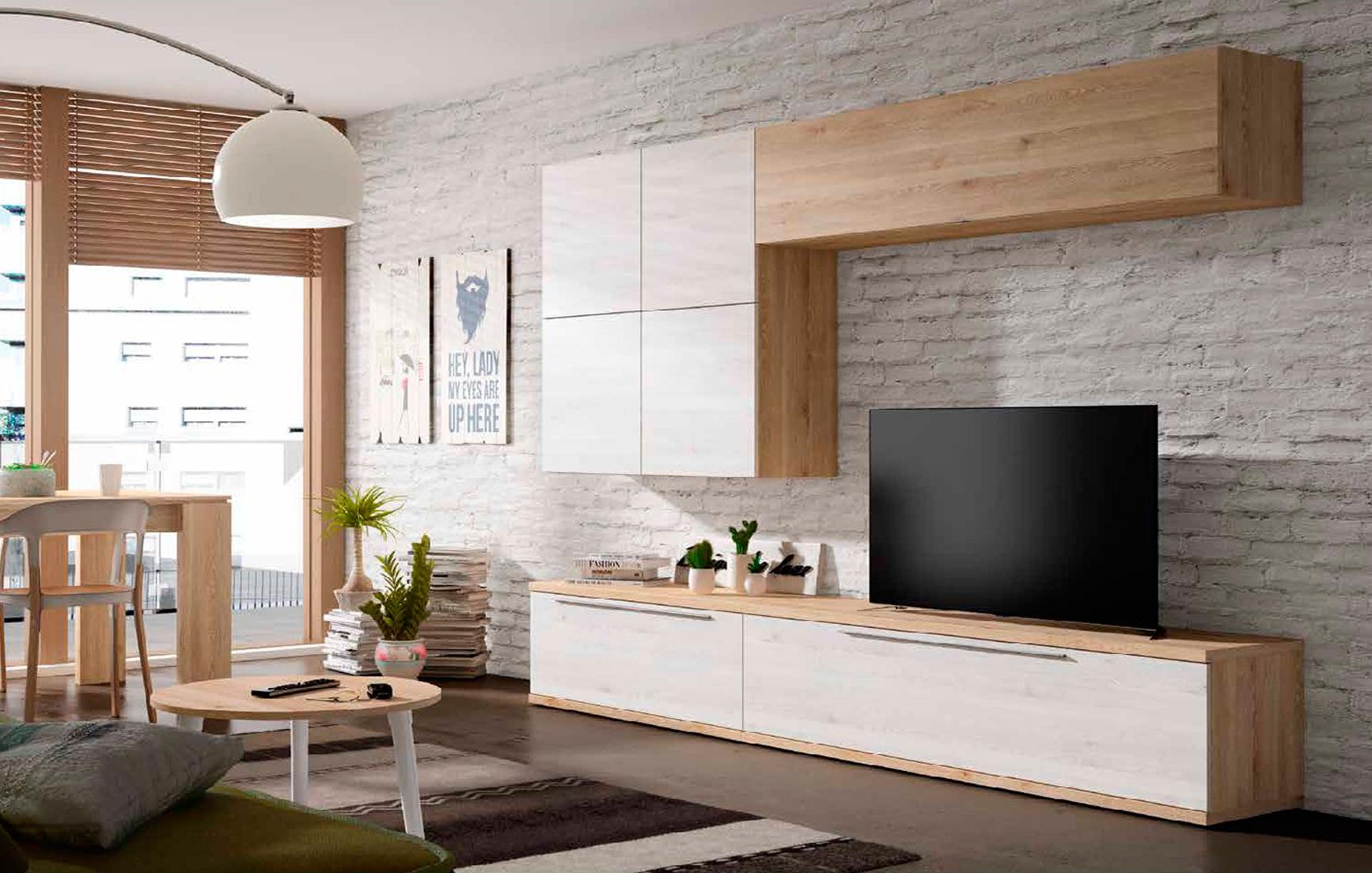 Mueble de salón Pino danés y blanco nordic - Muebles Adama Tienda de ...