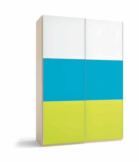 Armario 2 puertas 3 paneles correderas multicolor