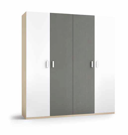 Armario 4 Puertas blanco y pizarra