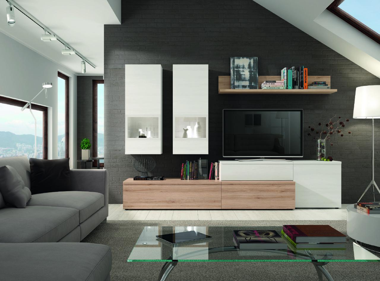 Mueble De Sal N Blanco Polar Y Roble Natural 2 Vitrinas  # Muebles El Foco