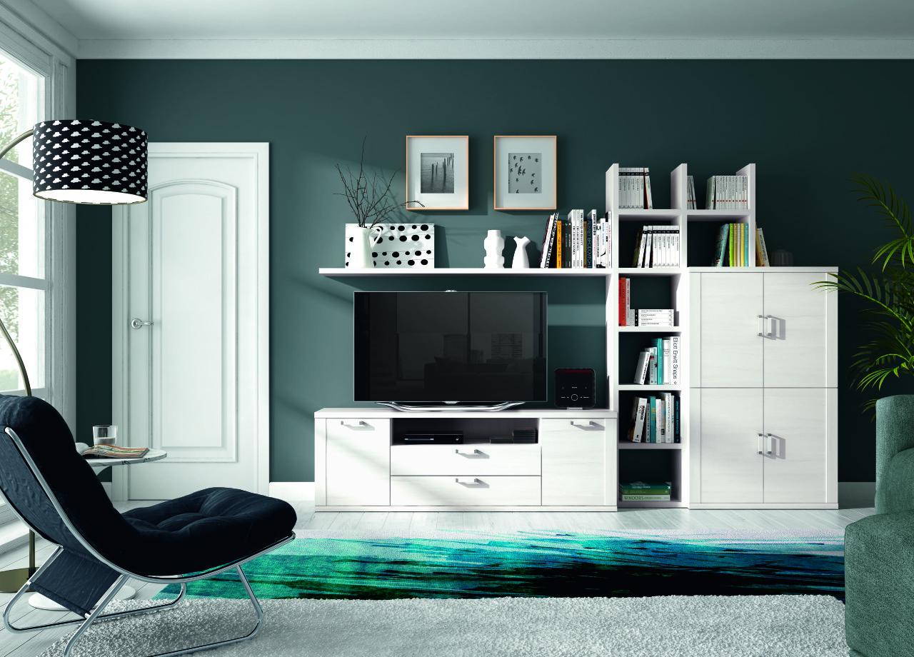 Mueble de sal n blanco polar de dise o limpio y elegante - Muebles salon diseno ...
