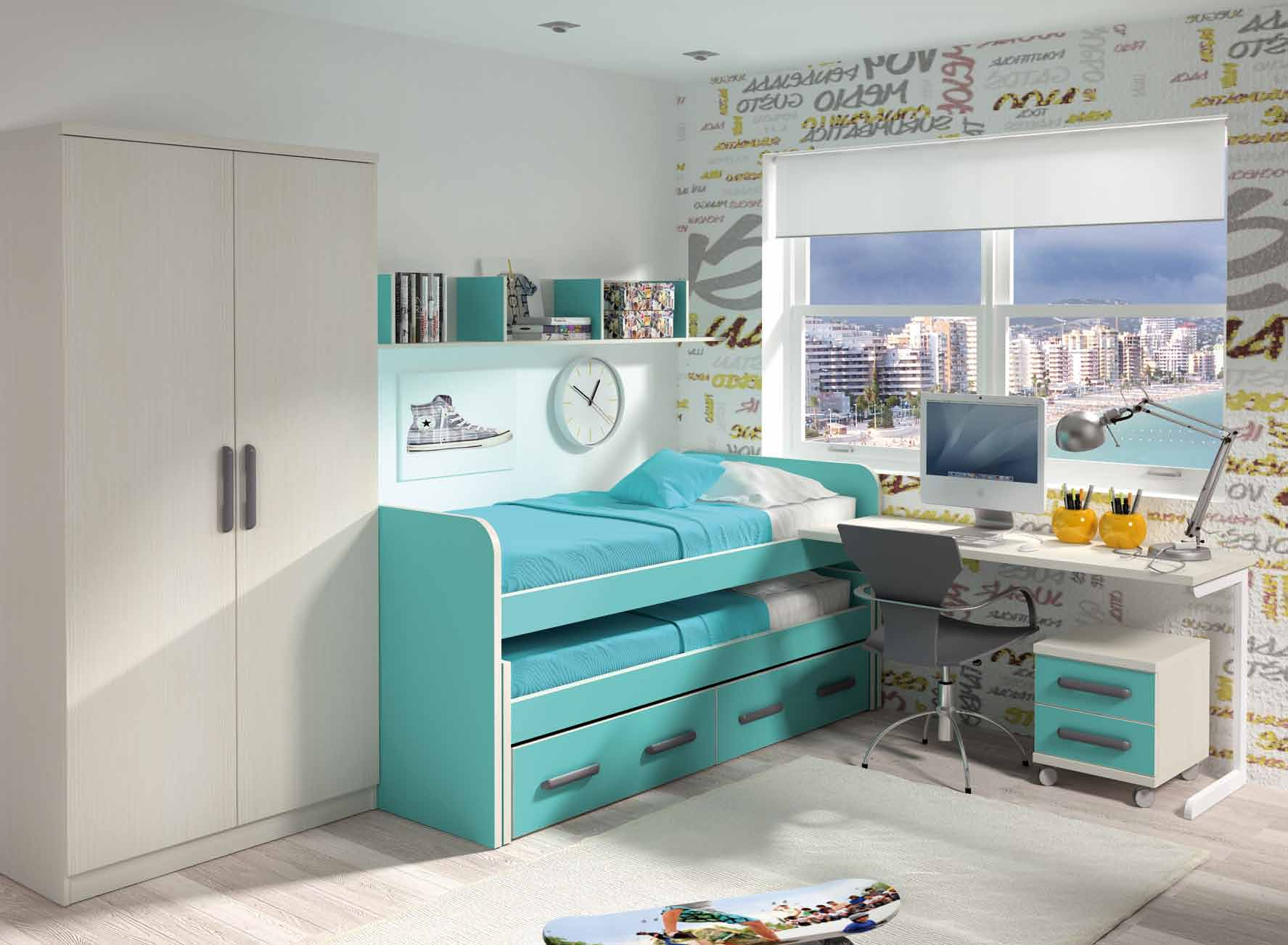 Cama desplazable abierta dormitorio juvenil muebles for Cama abierta