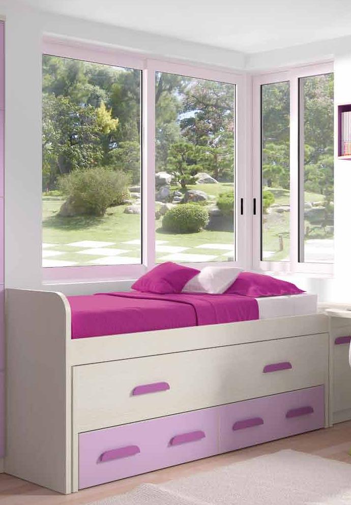 Cama compacta 2 contenedores muebles adama tienda de - Cama juvenil compacta ...