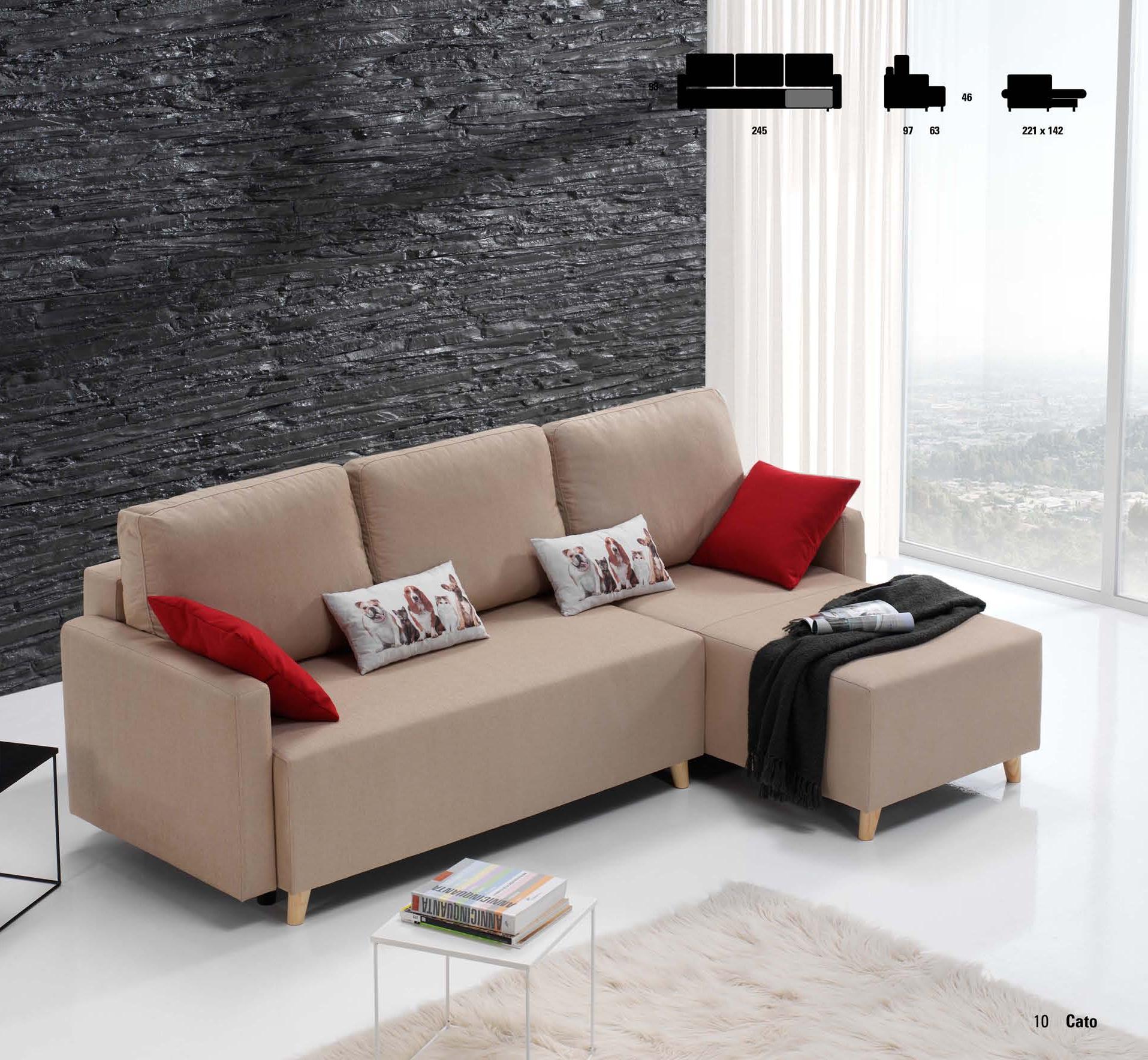 Chaise longue sof cama muebles adama tienda de muebles for Sofa cama chaise longue piel