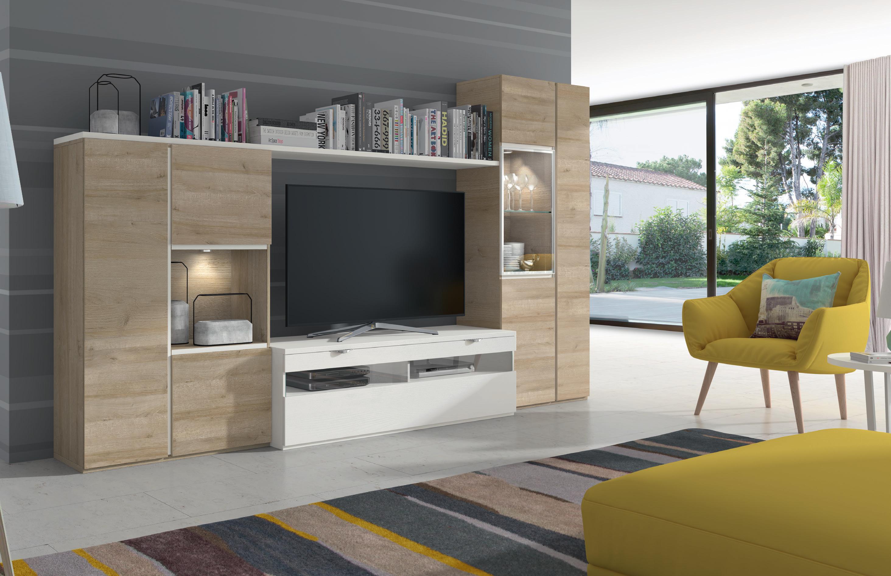 Mueble De Sal N Natural Blanco Poro Muebles Adama Tienda De  # Muebles De Salon