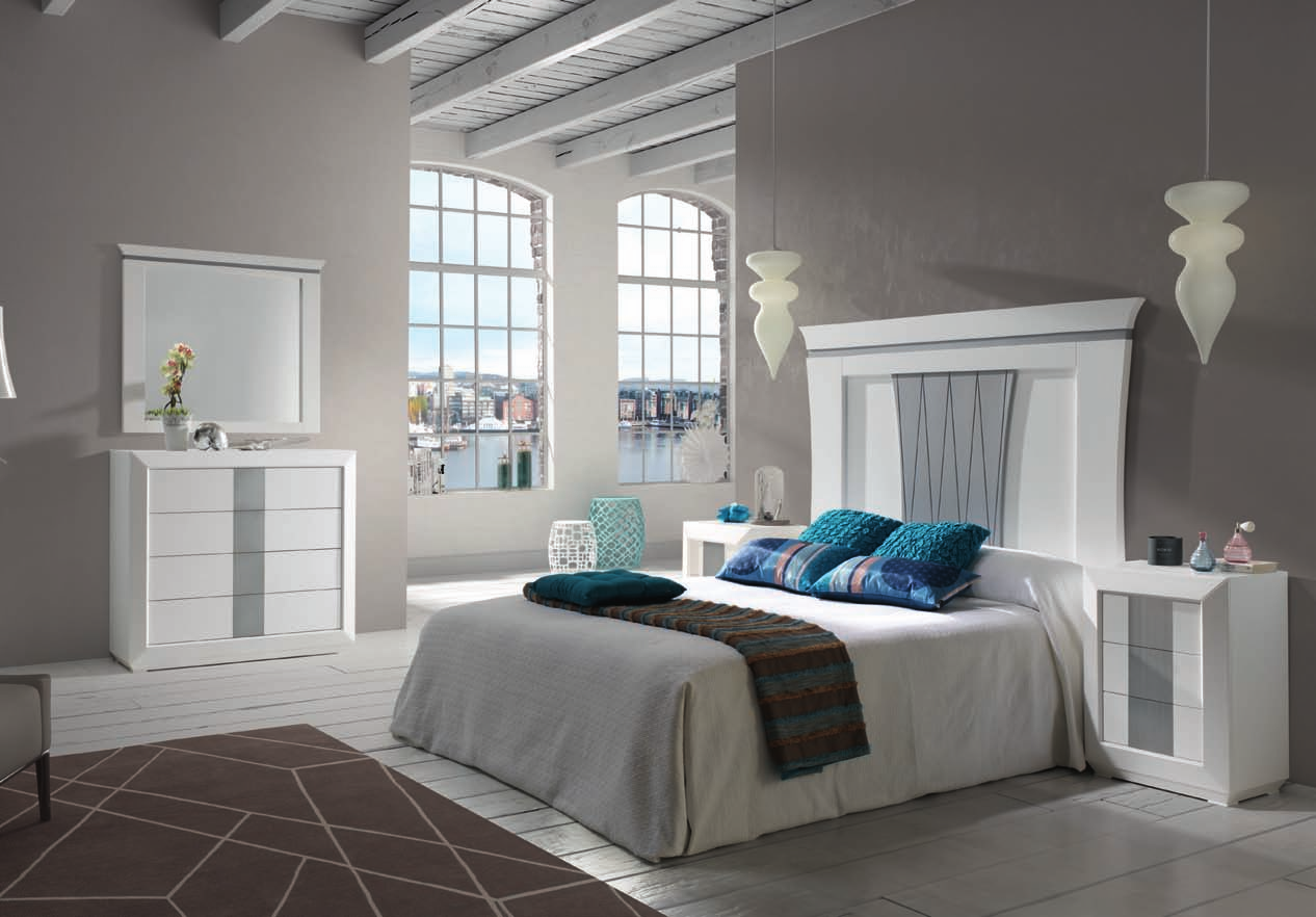 Dormitorio matrimonio completo blanco folio y plata for Dormitorios modernos en blanco y plata