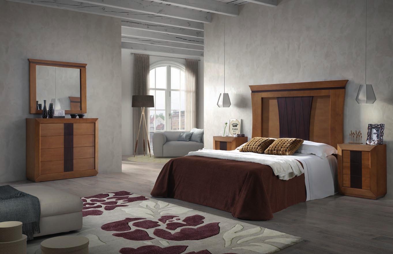 Dormitorio de matrimonio completo cerezo patinado y ebano for Dormitorio completo