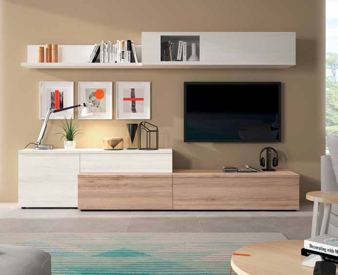 mueble de sal n roble natural y blanco polar muebles On mueble salon blanco y roble