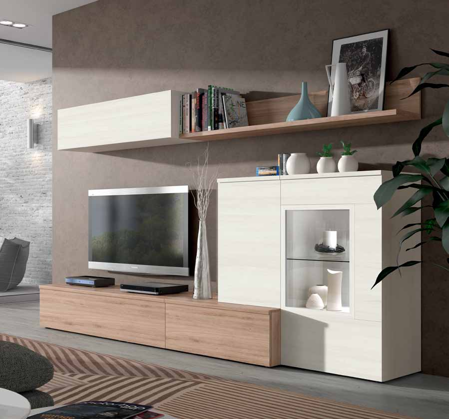 Mueble de sal n roble natural y blanco polar muebles for Salon nature