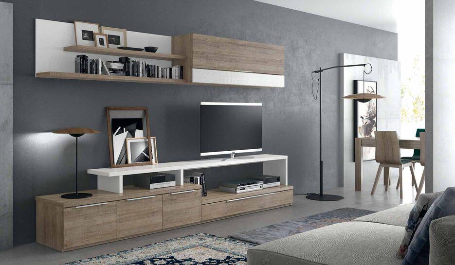 Mueble de sal n apilable blanco y roble muebles adama for Salones mezcla clasico moderno