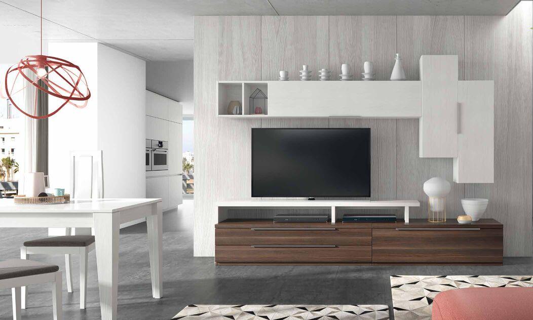 Moderno y elegante mueble de salón blanco y caviar - Muebles Adama ...