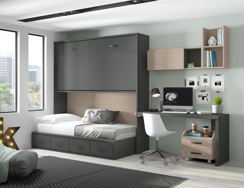 Cama 190 x 90 alta abatible horizontal Basic  sin altillo 218 x 42 cms