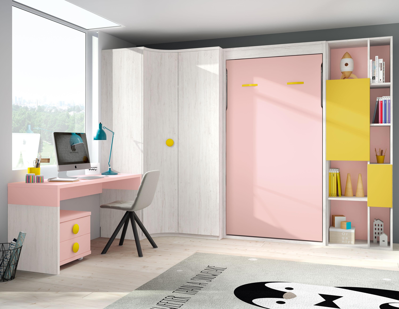 Dormitorio juvenil completo Ártico – Ocre – Rosa