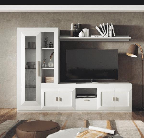 Mueble de sal n lacado en blanco muebles adama tienda de for Muebles de salon clasicos en blanco