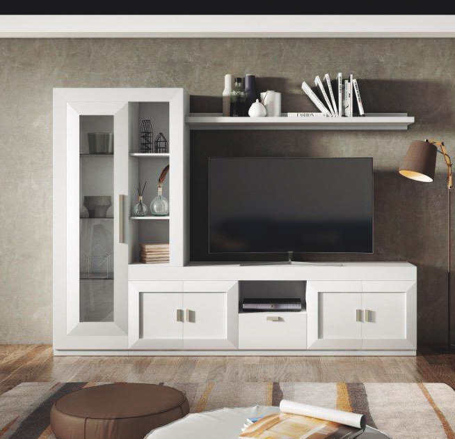Mueble de sal n lacado en blanco muebles adama tienda de for Mueble salon lacado blanco