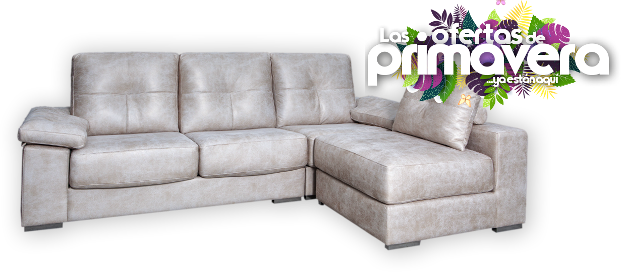 Sofa 3 plazas + puff chaisse longue reversible