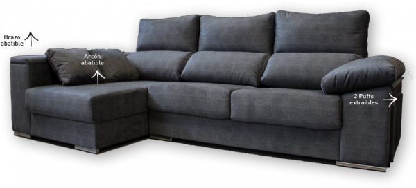 Sof chaisse longue brazo con puff y arc n abatible for Muebles adama