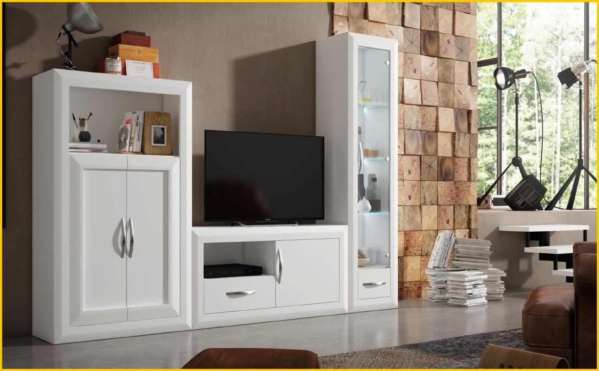 Composici n apilable frentes lacados en blanco muebles - Muebles de salon lacados en blanco ...