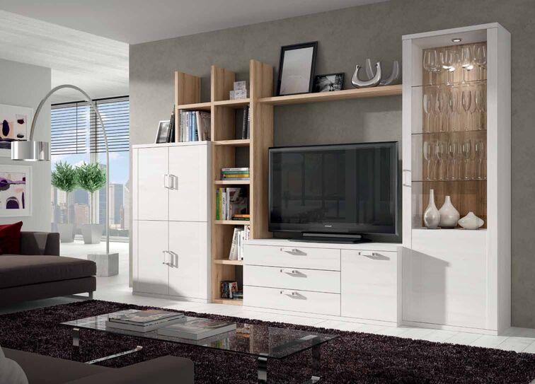 Mueble de sal n color polar y roble natural muebles for Muebles salon roble natural