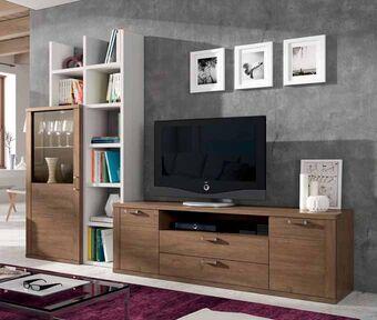 Mueble de sal n color roble natural y polar muebles for Muebles salon roble natural