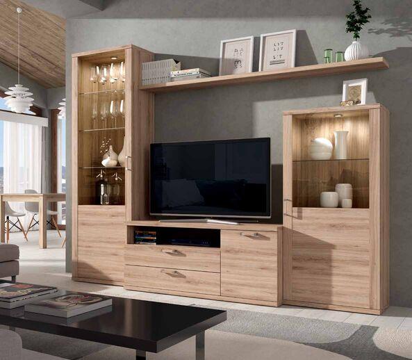 Mueble de sal n color roble natural muebles adama tienda for Muebles salon roble natural