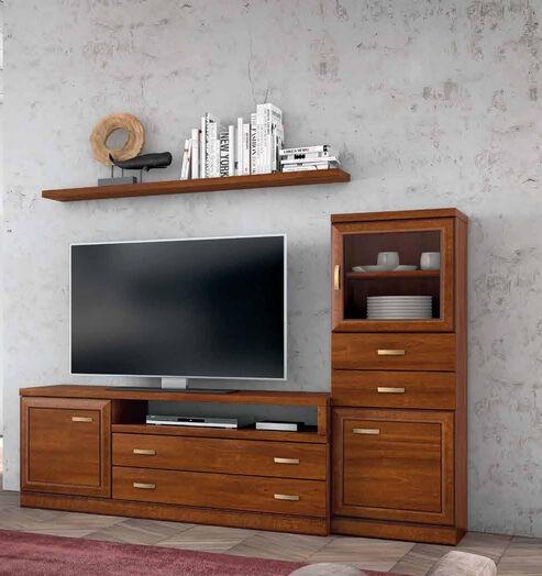 Mueble de salón nogal ideal espacio reducido
