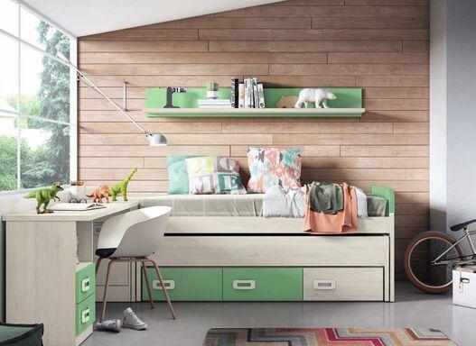 Dormitorio juvenil  completo BLANCO NORDIC - VERDE TALCO