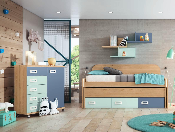 Dormitorio juvenil completo PINO DANÉS - AZUL NUBE - AZUL TALCO