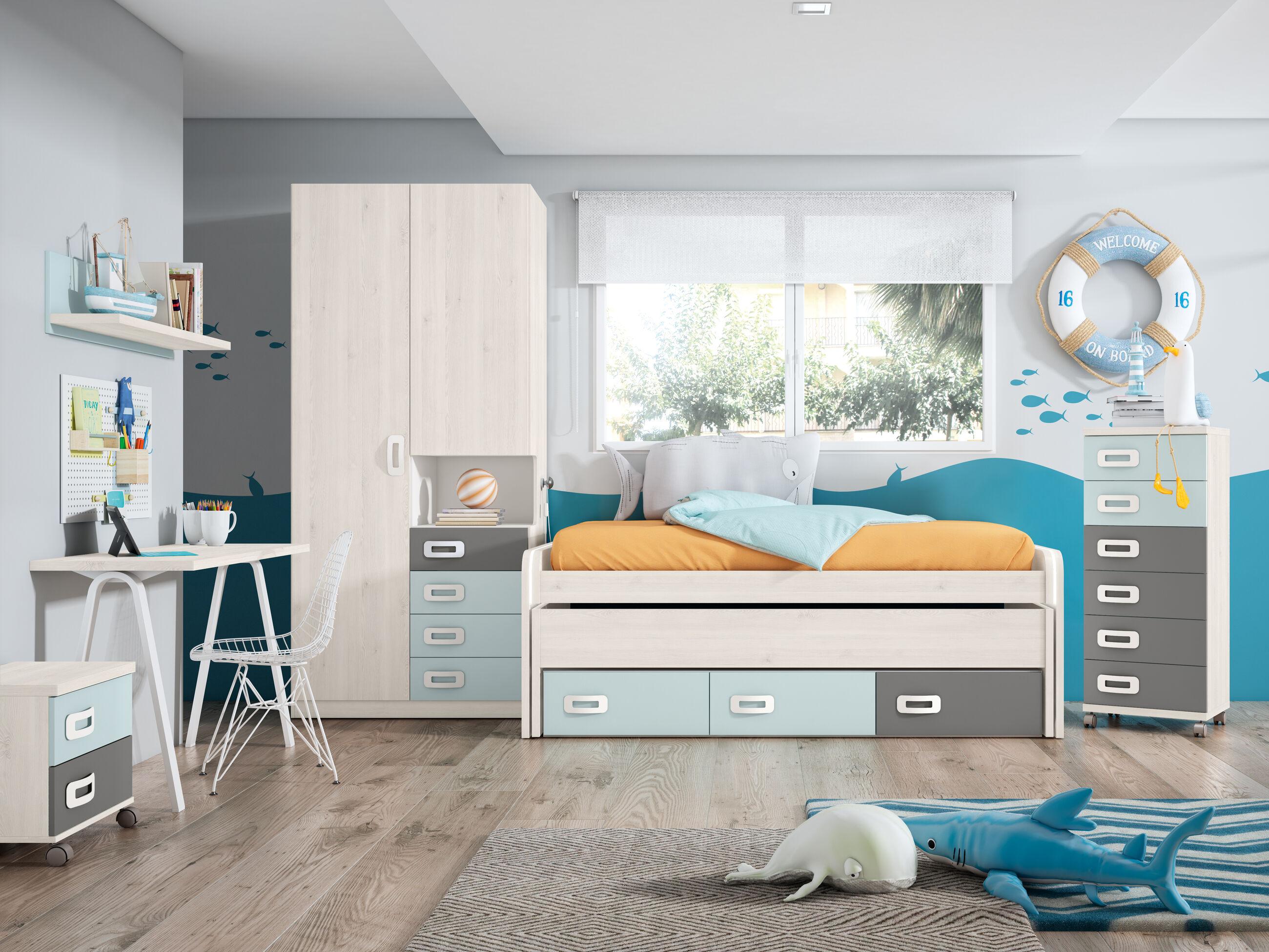 Dormitorio juvenil completo BLANCO NORDIC - AZUL NUBE - GRIS TORMENTA