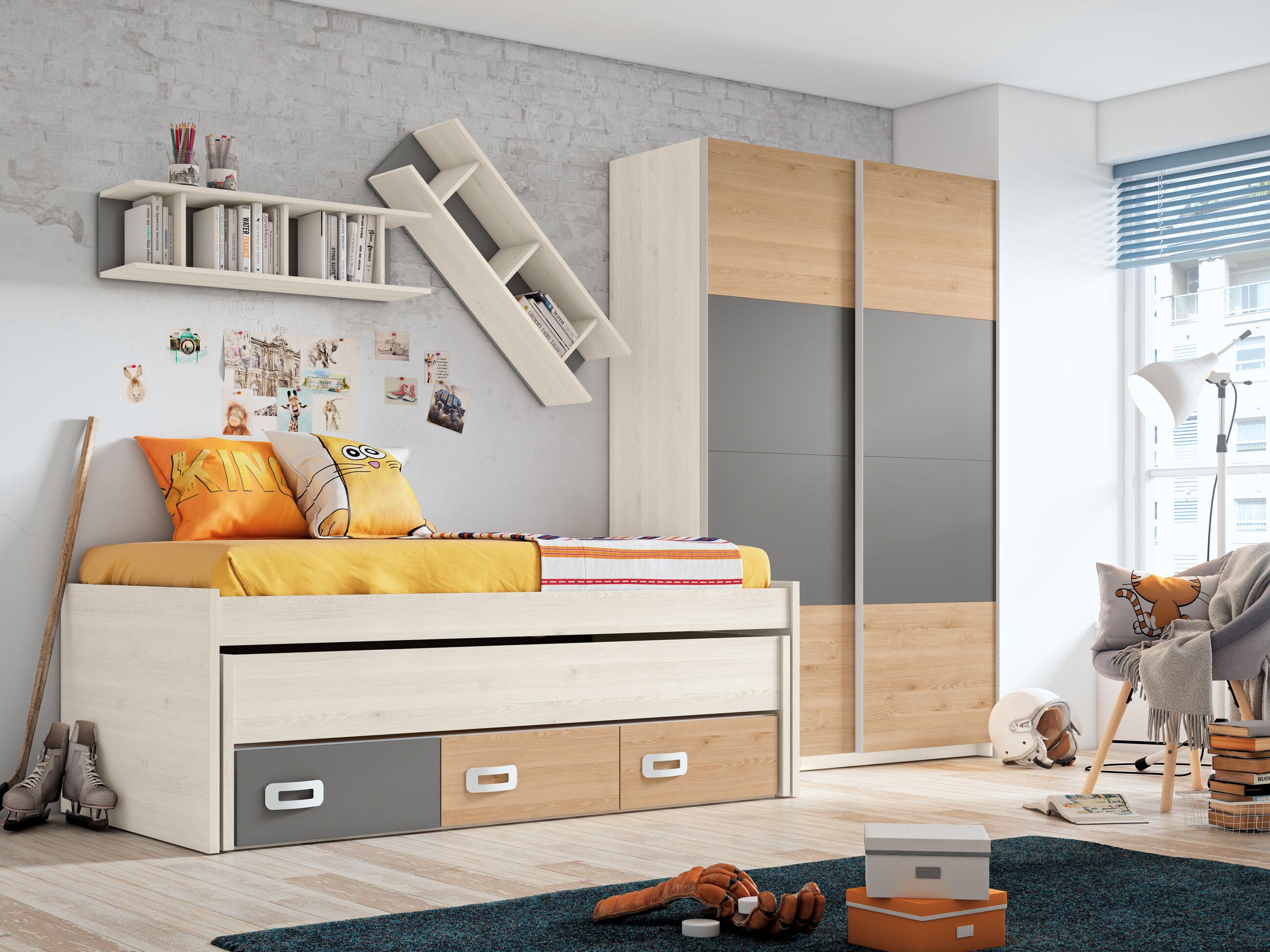 Dormitorio juvenil completo BLANCO NORDIC - PINO DANÉS - GRIS TORMENTA