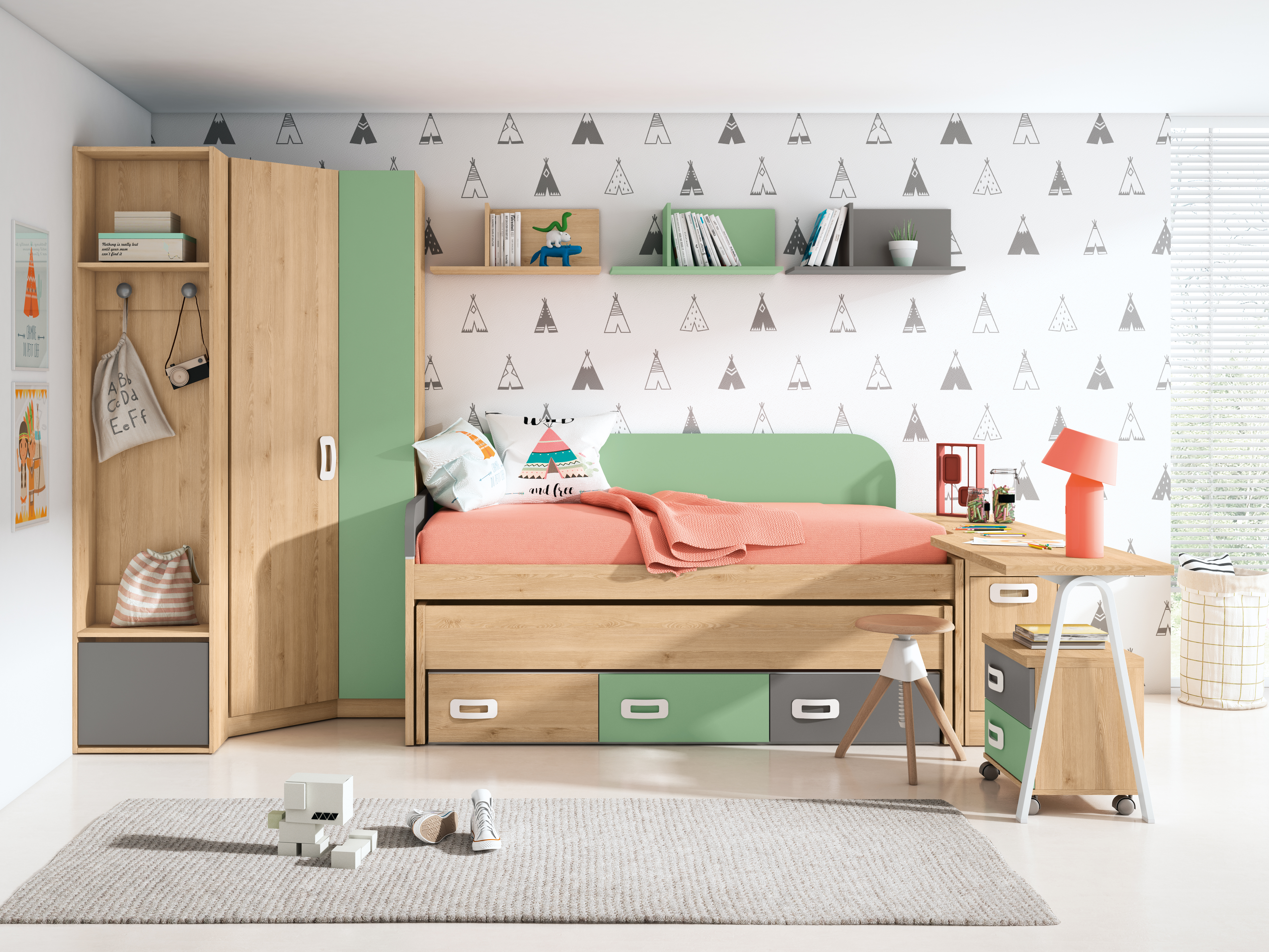 Dormitorio juvenil completo PINO DANÉS - VERDE TALCO - GRIS TORMENTA