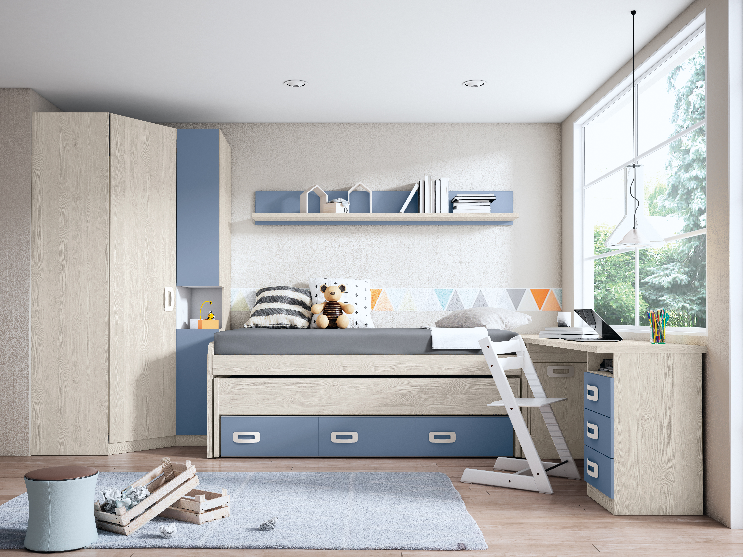 Dormitorio juvenil completo BLANCO NORDIC - AZUL TALCO
