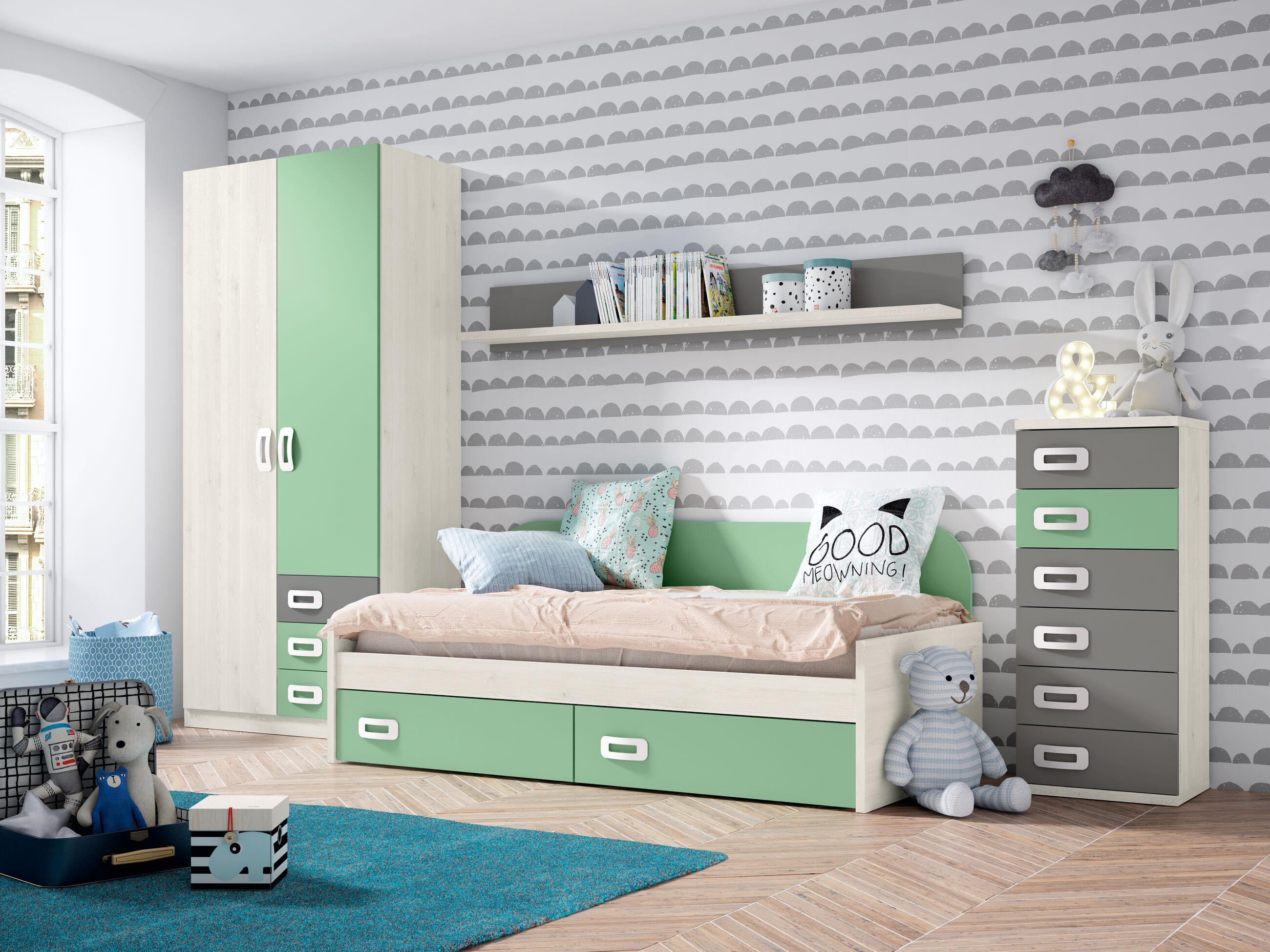 Dormitorio juvenil completo BLANCO NORDIC - VERDE TALCO - GRIS TORMENTA