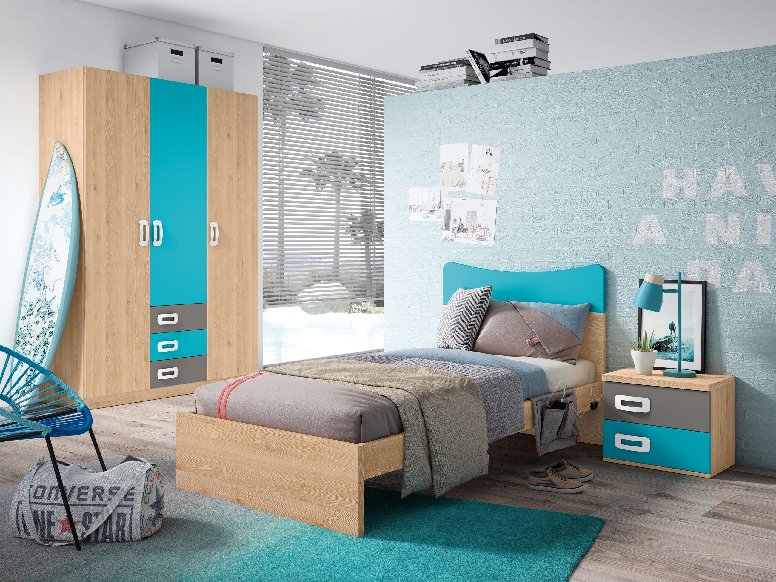Dormitorio Juvenil Completo Pino Danés Turquesa Gris Tormenta