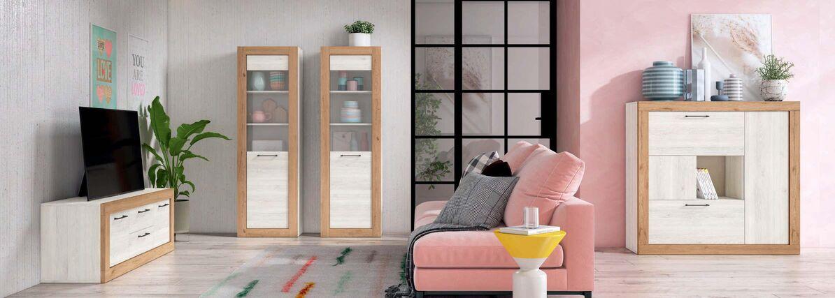 Mueble de salón blanco nordic y naturale