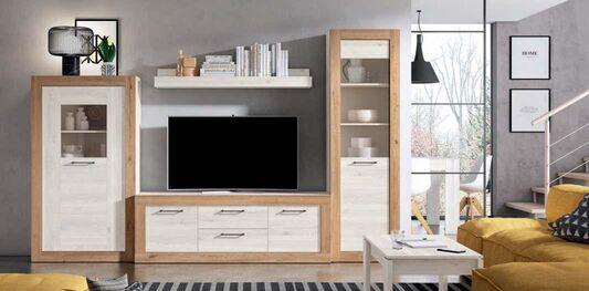 Mueble de salón moderno Naturale y blanco mate